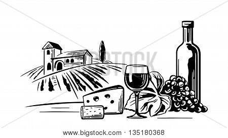 Rural landscape with villa vineyard fields and hills. Bottle glass cork bunch of grapes cheese. Black and white vintage vector illustration for label poster web icon
