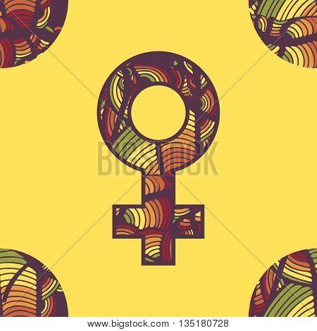 Bright yellow orange red and green Venus symbol