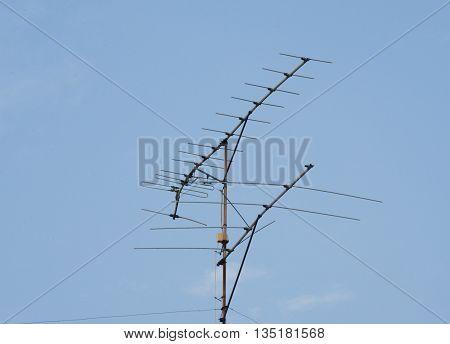 Tv Antenna.evening Sky Background..