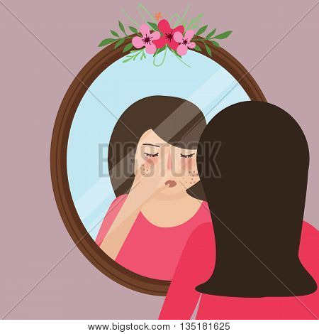 girls with acne pimple looking into mirror skin face problem vector