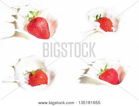 Collection of strawberries splashing into milk isolated on white background