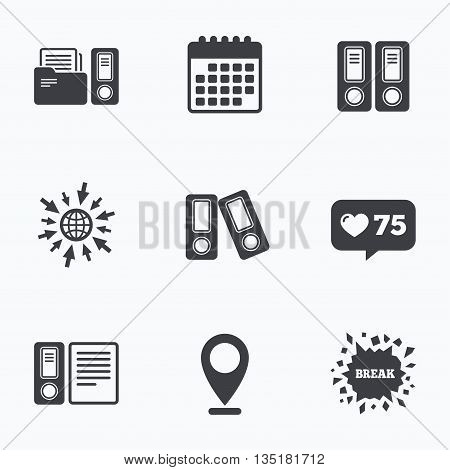 Calendar, like counter and go to web icons. Accounting icons. Document storage in folders sign symbols. Location pointer.