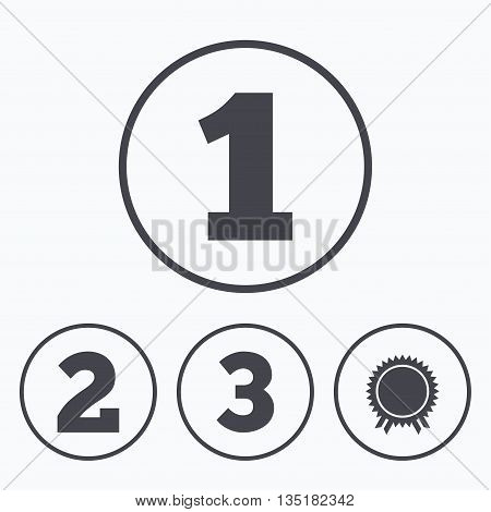 First, second and third place icons. Award medal sign symbol. Icons in circles.