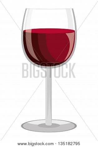 glass of wine  front view over isolated background, vector illustration