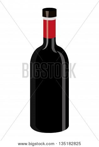 black wine bottle front view over isolated background, vector illustration