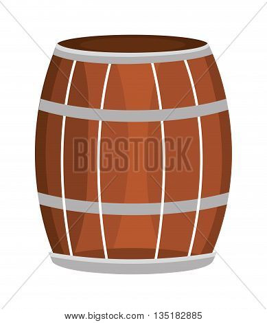 brown and grey  barrel front view and black stripes over isolated backgound, vector illustration