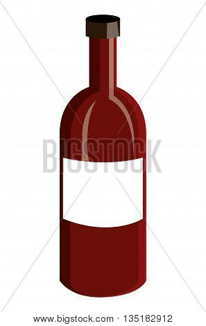 red wine bottle front view over isolated background, vector illustration