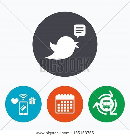 Bird icon. Social media sign. Speech bubble chat symbol. Mobile payments, calendar and wifi icons. Bus shuttle.