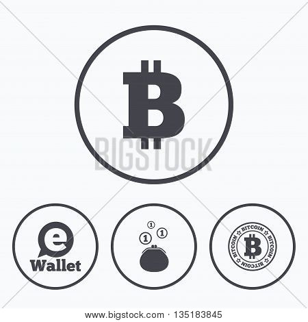 Bitcoin icons. Electronic wallet sign. Cash money symbol. Icons in circles.