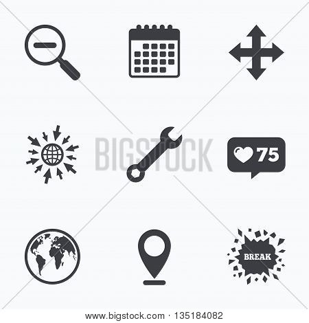 Calendar, like counter and go to web icons. Magnifier glass and globe search icons. Fullscreen arrows and wrench key repair sign symbols. Location pointer.