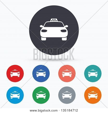 Taxi car sign icon. Public transport symbol. Flat taxi icon. Simple design taxi symbol. Taxi graphic element. Circle buttons with taxi icon. Vector