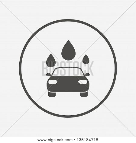 Car wash sign icon. Automated teller. Water drop Flat carwash icon. Simple design carwash symbol. Carwash graphic element. Round button with flat carwash icon. Vector