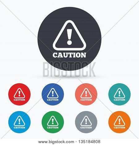 Attention caution sign icon. Exclamation mark. Flat caution icon. Simple design caution symbol. Caution graphic element. Circle buttons with caution icon. Vector