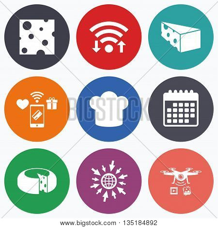 Wifi, mobile payments and drones icons. Cheese icons. Round cheese wheel sign. Sliced food with chief hat symbols. Calendar symbol.