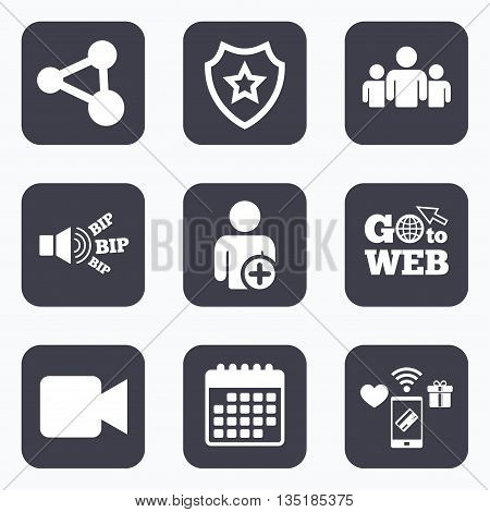 Mobile payments, wifi and calendar icons. Group of people and share icons. Add user and video camera symbols. Communication signs. Go to web symbol.