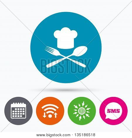 Wifi, Sms and calendar icons. Chef hat sign icon. Cooking symbol. Cooks hat with fork and spoon. Go to web globe.
