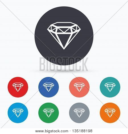 Diamond sign icon. Jewelry symbol. Gem stone. Flat brilliant icon. Simple design brilliant symbol. Brilliant graphic element. Circle buttons with brilliant icon. Vector