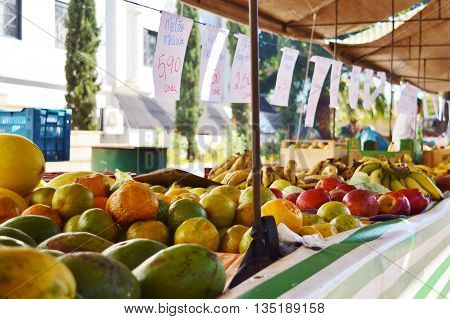 Fresh fruits sold in a local market