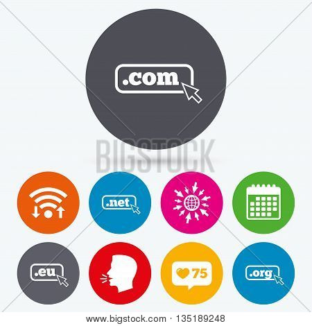 Wifi, like counter and calendar icons. Top-level internet domain icons. Com, Eu, Net and Org symbols with cursor pointer. Unique DNS names. Human talk, go to web.