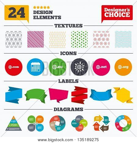 Banner tags, stickers and chart graph. Top-level internet domain icons. Com, Eu, Net and Org symbols with globe. Unique DNS names. Linear patterns and textures.