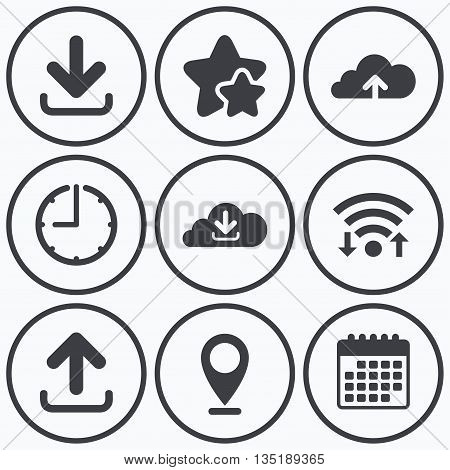 Clock, wifi and stars icons. Download now icon. Upload from cloud symbols. Receive data from a remote storage signs. Calendar symbol.