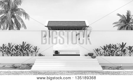 Beach holiday rest day gate local thai style 3d rendering