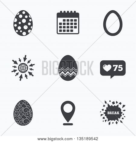 Calendar, like counter and go to web icons. Easter eggs icons. Circles and floral patterns symbols. Tradition Pasch signs. Location pointer.