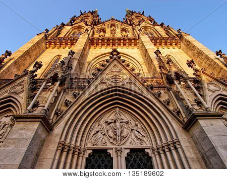 The main facade of the cathedral of St. Wenceslaus on Wenceslas square in the old town of Olomouc