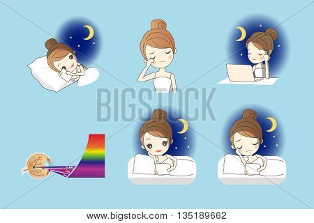 cartoon girl use smart phone digital tablet pc and computer at night and her eyes feel uncomfortable Health Eye Care concept