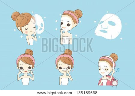 cartoon girl care her face with mask facial beauty