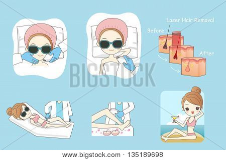 Cartoon woman receiving laser hair removal epilation treatment