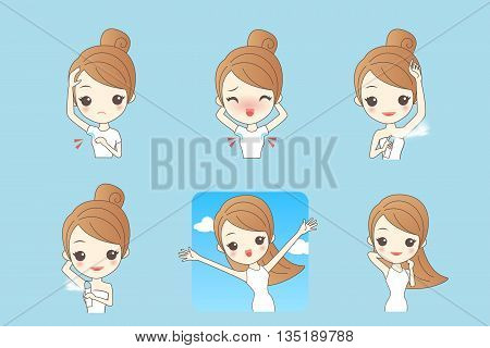 Cartoon beautiful young woman applying deodorant on underarm