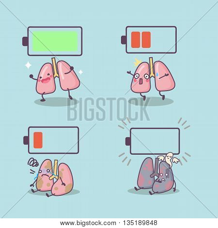 cute cartoon lung with battery great for Health concept design