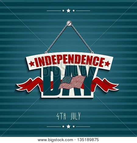 Illustration of Independence day American signs hanging with chain and red ribbon
