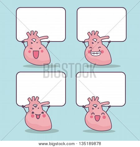 cute cartoon heart with blank billboard great for health care concept