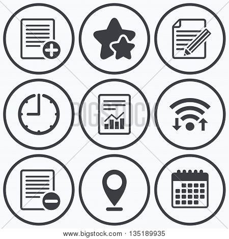 Clock, wifi and stars icons. File document icons. Document with chart or graph symbol. Edit content with pencil sign. Add file. Calendar symbol.