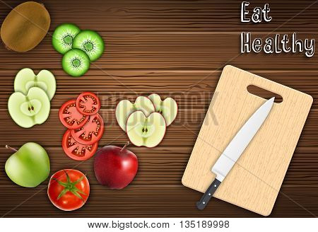 Illustration of Fresh fruits slices on the table with a knife on a cutting board background