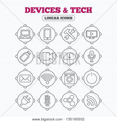 Linear icons with direction arrows. Devices and technologies icons. Notebook, smartphone and wi-fi symbols. Usb flash, video camera, microphone thin outline signs. Washing machine, fluorescent lamp and electric plug. Circle buttons.