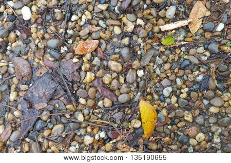 Gravel and pebble in mixed colour on ground