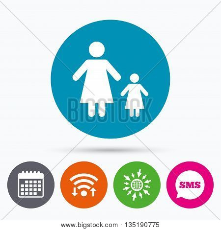 Wifi, Sms and calendar icons. One-parent family with one child sign icon. Mother with daughter symbol. Go to web globe.