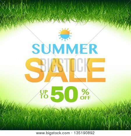 Discount Poster With Green Grass Frame, With Gradient Mesh, Vector Illustration