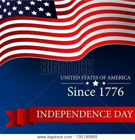 Illustration of Happy Independence day 4th july with waving flag