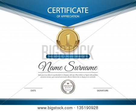 Certificate template for achievement , Diploma of completion.