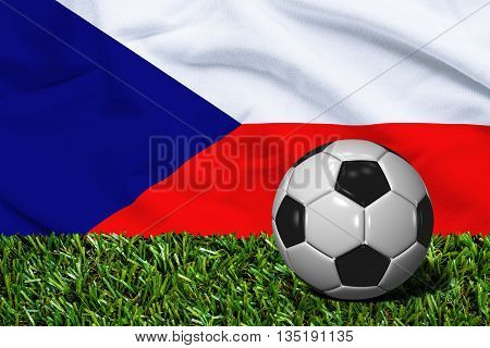 Soccer Ball On Grass With Czech Republic Flag Background, 3D Rendering