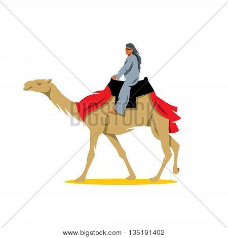 A man riding a camel. Isolated on a White Background