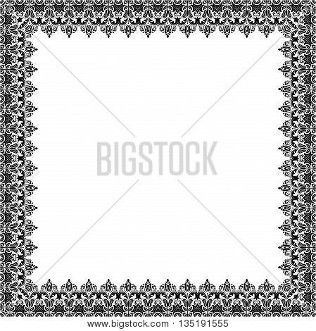 Classic square frame with arabesques and orient elements. Abstract fine ornament