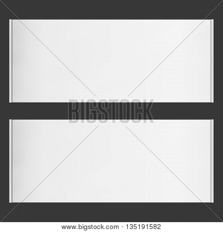 Two horizontal vector roll blank banners on black background. Place for any message.