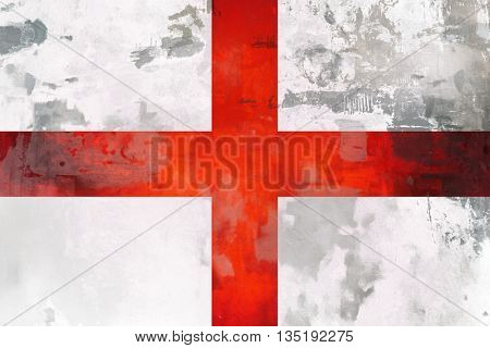 England ( English )  flag design with texture element.  St George red cross on white background.