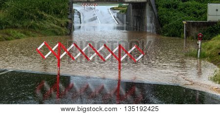 flood in a tunnel of a road