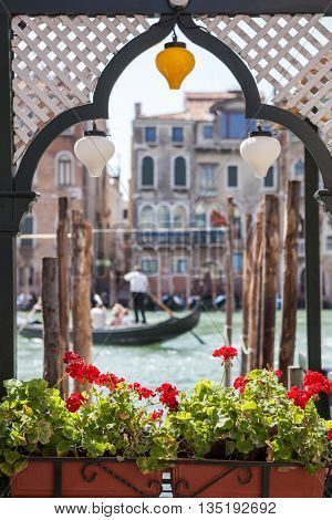 Gondola and houses in Venice